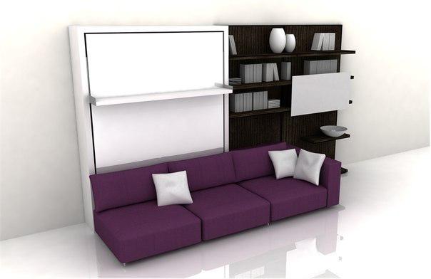 Спальня со встроенной подъемной шкаф-кроватью решит многие ваши проблемы, связанные с